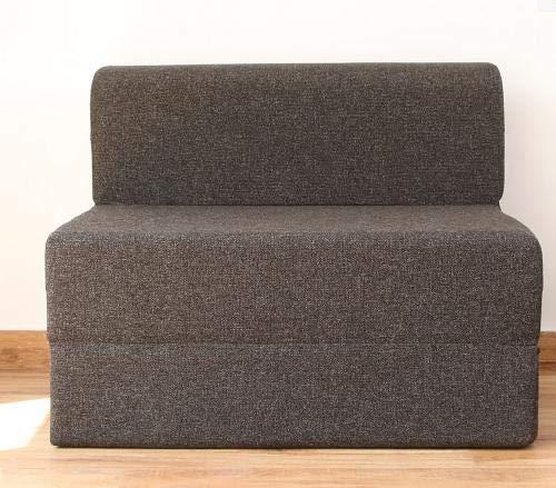 uberlyfe EPE Foam 1 Seater Jute Fabric Washable Cover Sofa Cum Bed (Dark Grey, 3 X 6 ft)