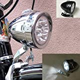 GOODKSSOP Bright 6 LED Metal Shell Front Light For Bicycle Headlight Retro Bike Head Lamp Classical Vintage Night Riding Safety Cycling Fog Light Headlamp With Bracket (Silver)