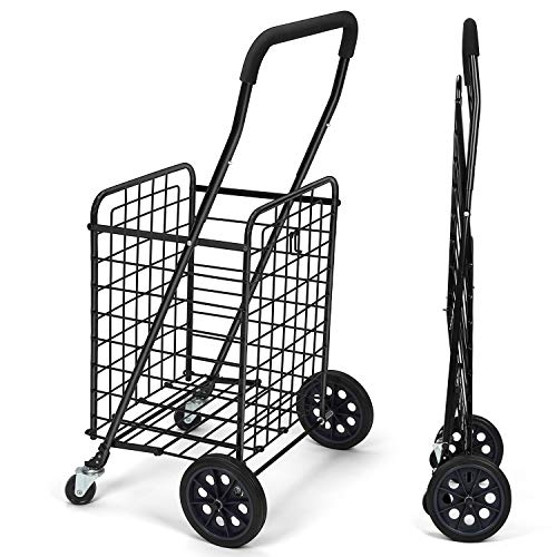 Pipishell Shopping Cart with Dual Swivel Wheels for Groceries - Compact Folding Portable Cart Saves Space - with Adjustable Handle Height - Lightweight Easy to Move Trolley Holds up to 70L/Max 66Ibs