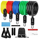KEEPTO Resistance Bands Set, Exercise Bands with Handles, Training Tubes with Door Anchor & Ankle Straps for Resistance Training, Physical Therapy, Home Workout, Yoga, Pilates Stackable up to 150 lb