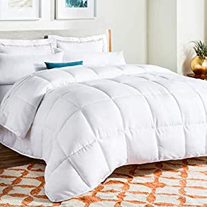 Ultra-soft, all-season microfiber comforter with 8 built-in corner and side loops to secure your favorite duvet cover Microfiber down alternative fill has a 300 GSM fill weight; Provides the cozy comfort of down without the feathers, odor, and sharp ...