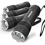 Eveready 4-Pack LED Tactical Flashlights, IPX4 Water Resistant, Rugged and Bright Flash Lights