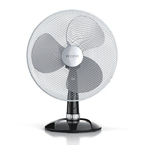 Brandson - Tischventilator 40cm - Tisch Ventilator mit 3-Leistungsstufen - Schreibtischventilator oszillierend - klein und leise - 50W - Neigungswinkel ca. 30Grad - Oszillation ca. 85Grad - silber