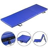 Giantex 6'x2' Tri-Fold Gymnastics Mat with Carry Handles Tumbling Exercise Gym Mat for Aerobics, Yoga, Stretching, MMA (Blue)