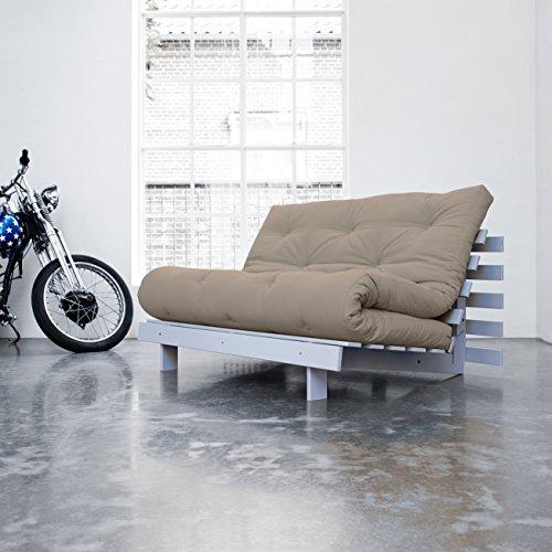 KARUP - ROOTS 140 CM, divano e letto, futon ecr su legno tinto grigio-bianco