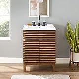 Modway Render Mid-Century Bathroom Vanity With Sink in Walnut White