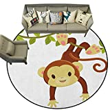Nursery,All Weather mats Cute Cartoon Monkey Hanging on Liana Playful Safari Character Cartoon Mascot D54 Bath Mat Set Kitchen Door