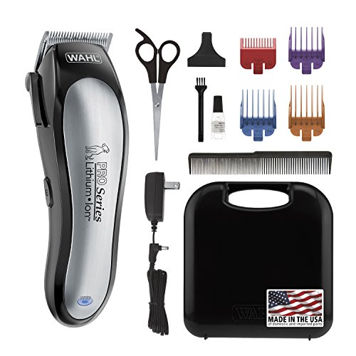 Wahl Lithium Ion Pro Series Cordless Animal Clippers  Rechargeable, Quiet, Low Noise, Heavy-Duty, Electric Dog & Cat Grooming Kit for Small & Large Breeds with Thick to Heavy Coats  Model 9766,Black and Silver