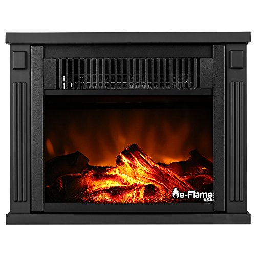 e-Flame USA Fairbanks Free Standing Space Heater Fireplace 3-D Log and Fire Effect (Black)