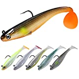 TRUSCEND Fishing Lures for Bass Trout Jighead Lures Paddle Tail Swimbaits Soft Fishing Baits Freshwater Saltwater Jigging Bass Fishing Gear Gifts for Men