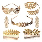 YallFF Greek Roman Laurel Leaf Bracelet Armband Golden Laurel Leaves Crown Tiara Costume Greek Goddess Headband Hair Comb Bridal Wedding Headpiece Hair Accessories