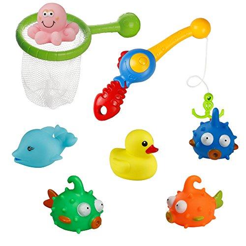 Giochi Bagnetto Bambini Bagno Giocattolo Set Pesca Giochi con 1 Canne da Pesca e 1 Rete da Pesca Regalo per Ragazzo Ragazza 3 4 5 anni