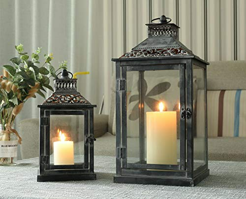 JHY DESIGN Set mit 2 dekorativen Laternen aus schwarzem grauem Pinsel, Kerzenlaternen aus Metall für Hängelaternen im Innen,Event,Party und Hochzeitsstil