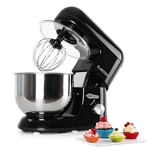 KLARSTEIN Bella Nera - Robot da Cucina, Mixer, Impastatrice, 1200 W, 5,2 L, Sistema Planetario, 6...