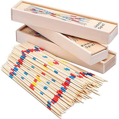 Tatuo 93 Stücke Holz Pick-up Sticks, Klassische Pickup Spiel, Lustige Familienspiel Geschenkidee