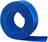 1-1/4 50' Blue PVC Lay-Flat Backwash Hose for Swimming Pools, Heavy Duty Discharge Hose Reinforced Pool Drain Hose, Weather Resistant Ideal for Water Transferring
