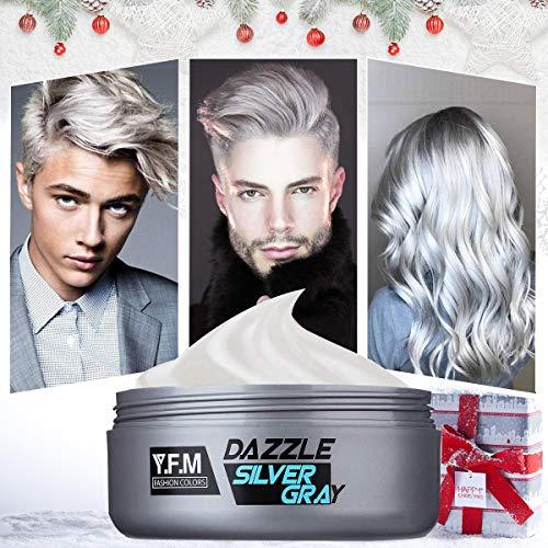 Cera capelli uomo Y.F.M. Crema colorante per capelli Tintura per barba, Argento grigio cera stile capelli forma semplice Tintura capelli Facilità di pulizia Nessun inquinamento Composizione vegetale