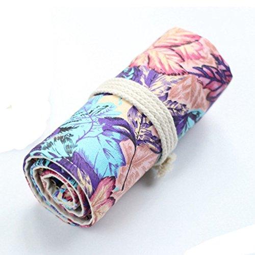 SIPLIV Canvas roll-up matita wrap, viaggio disegno matite da colorare sacchetto per artista, viola Maple Leaf stile 36 buche (matite non sono inclusi)