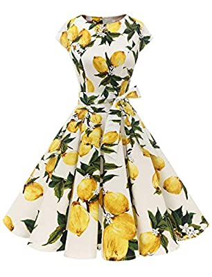 Fabric:Good quality, soft, stretch, light weight and skin-friendly Full circle flared skirt, classic Audrey Hepburn dresses Please Refer To Our Size Chart Left Before Purchasing The Dress Can Be Matched With Underskirt Or Petticoat, Will Be More Eleg...