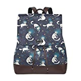 Yuanmeiju Mochila de Cuero Rucksack Universe Starry Space Cat Daypack Bags for Girls Boys