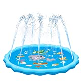 QPAU Sprinkler for Kids, Sprinkle and Splash Play Mat 68',Outside Toy Water Toys for Kids Outdoor, Outdoor Toys for Toddlers Age 3-5 (Blue)