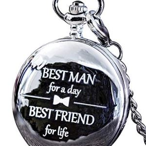 Best Man Gift for Wedding or Best Man Proposal – Engraved 'Best Man for a Day' Pocket Watch – Pair with Groomsmen Gifts