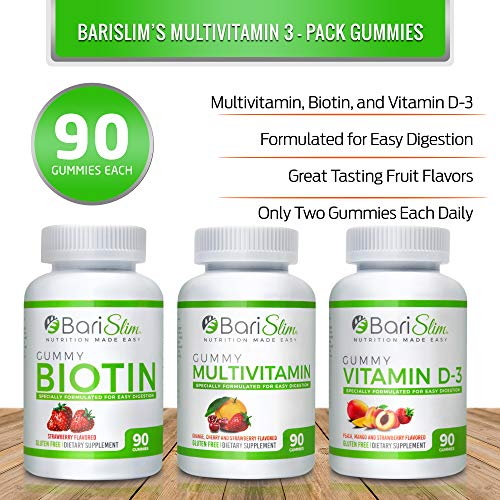 BariSlim Bariatric Multivitamin 3 Pack – (Multivitamin, Biotin, and D3) - Specially Formulated Gummy Vitamins for Patients After Weight Loss Surgery – 90 Fruit Chews per Bottle 2