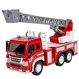 HERSITY Camion de Pompier Véhicule Enfant avec Lumière, 4 Effets Son et...