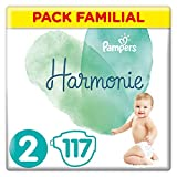 Couches Pampers Taille 2 (4-8 kg) - Harmonie Couches, 117 couches, Pack...