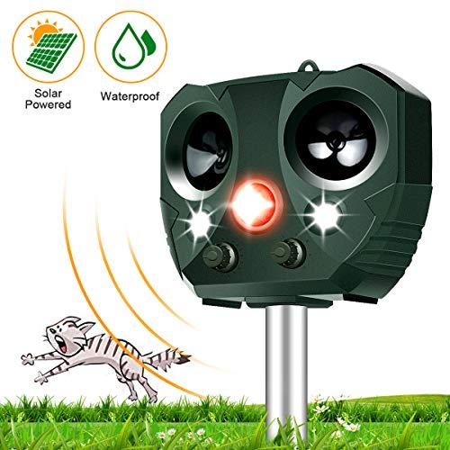 vonivi Katzenschreck Tiervertreiber, Solar Ultraschall Blitz Tierschreck Wasserdicht Abwehr, 5 Modus einstellbar
