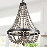 Bead Chandelier, Farmhouse Dining Room Light Fixture Hanging with 6-Lights, Handmade Wood Beaded Chandelier for Kitchen Island