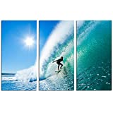 Live Art Decor -Seascape Canvas Wall Art,Surfer on Amazing Blue Wave Picture Photo Print on Canvas,Home Wall Decor,Framed 3 Panel Art Print- 36' W x 24' H Overall- 36' W x 24' H Overall (Surfer)