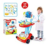 Wotryit Kids Doctor Kit Toy Medical Kits Pretend-n-Play Simulation ECG Medical Kit with Electronic Stethoscope for Kids, School Classroom, Easter Stuffers, Party and Role Play White