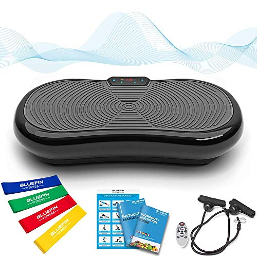 Bluefin Fitness Ultraflache Vibrationsplatte mit Leisem 1000-Watt Motor | LCD Display & Bluetooth Lautsprecher | 5 Trainings-Programme - 180 Level | Inkl. Fernbedienung, Trainingsbänder & Übungsposter (schwarz)