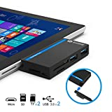 USB 3.0 HUB, Eletrand Surface Pro USB 3.0 Data HUB with SD/TF Card Reader Combo Adapter for Microsoft 2017 Surface Pro/Pro 4/Pro 3(12.3') - Build-in USB 3.0 Port & Power Delivery Port, 5GB/s