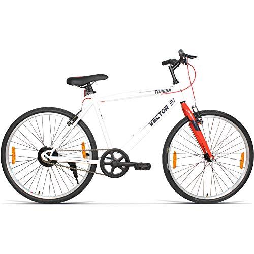 VECTOR 91 TopGun 26T Single Speed Hybrid Bike ( White , Ideal For: 12+ Years , Brake: V Brake )