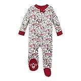 Burt's Bees Baby Unisex Baby Sleep & Play, Organic Pajamas, NB-9M One-Piece Zip Up Footed PJ Jumpsuit, Holiday Carols, 6-9 Months