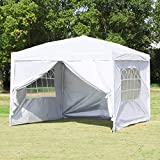 Easyzon Pop Up Patio EZ Canopy Tent Heavy Duty Gazebo Pavilion Outdoor Party Commercial Instant Tents Impact Canopies,10 x 10 FT (White with sidewalls)