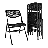 CoscoProducts 60863BLK4E Mesh Folding Chair, Black Black