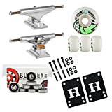 Independent Silver 129mm Truck Package Skateboard Spitfire Wheels 53mm Abec 7 Bearings