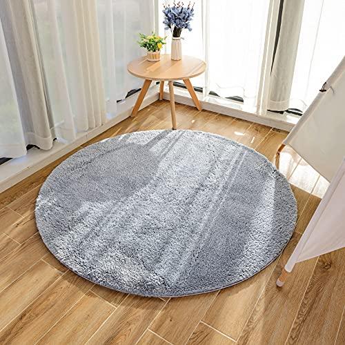 HEXIN tappeti rotondi sono adatti per i moderni tappeti anti-spargimento di soggiorni e camere da letto. Il tappeto rotondo shag ti fa sentire pi caldo (grigio, 100x100cm)
