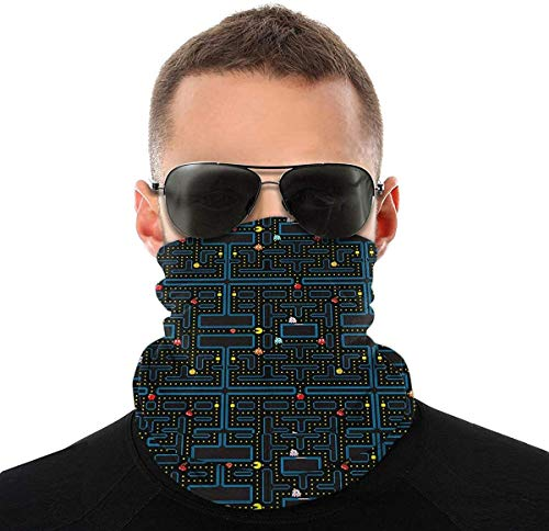 SCOCC Retro Video Game Pattern Men's Woman Full Coverage Tube Seamless Headwear Neck Gaiter Reusable...