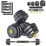 IRUI Free Weights Dumbbells Set, Adjustable Fitness Dumbbells Set with Connecting Rod Can Be Used As Barbell for Gym Work Out Home Training Suitable for Men and Women 22Lbs/10KG (2Pieces/Set)