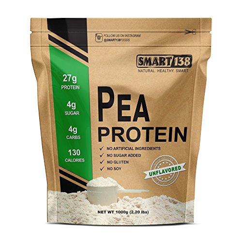 Smart138 Vanilla Pea Protein, Ultra-Fine Powder, Vegan, Gluten-Free, Soy-Free, Dairy-Free, Non-GMO, USA/Canada, Keto (Low Carb), Natural BCAAs (1000g / 2.2lbs, Vanilla)