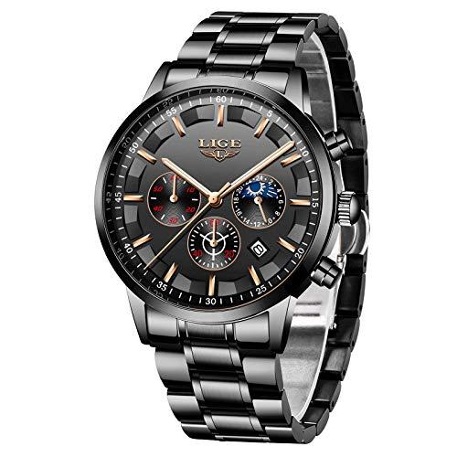 Herren Uhren Quartz 30 M Wasserdichtes, Lässige Chronograph Uhren, Business Uhren Kalender, Männer Militär Schwarz Edelstahl Armbanduhr…
