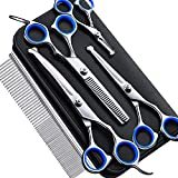 Gimars 4CR Stainless Steel 6 in 1 Safety Round Tip Dog Grooming Scissors, Heavy Duty Titanium Coated Pet Grooming Scissor for Dogs, Cats and Other Animals