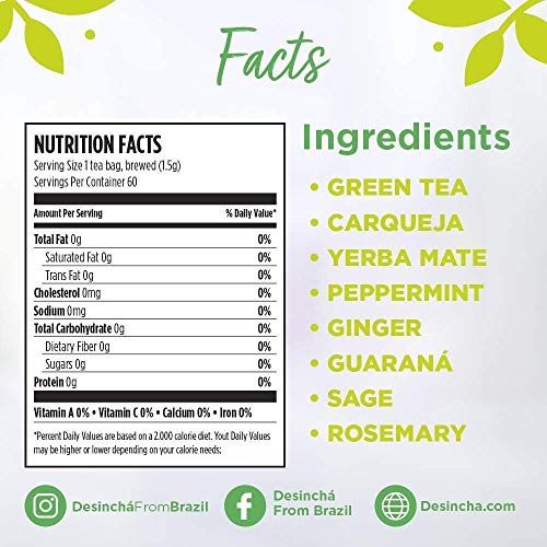 Desincha Tea – 60 Day Supply - 100% Healthy Weight Loss Tea - Reduce Bloating, Increase Metabolism - Made With Natural Ingredients - #1 Tea Brand in Brazil - Pouch 3