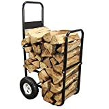 Sunnydaze Firewood Log Cart Carrier - Outdoor or Indoor Black Steel Wood Rack Storage Mover - Rolling Wheeled Metal Dolly Hauler - Wood Moving Equipment