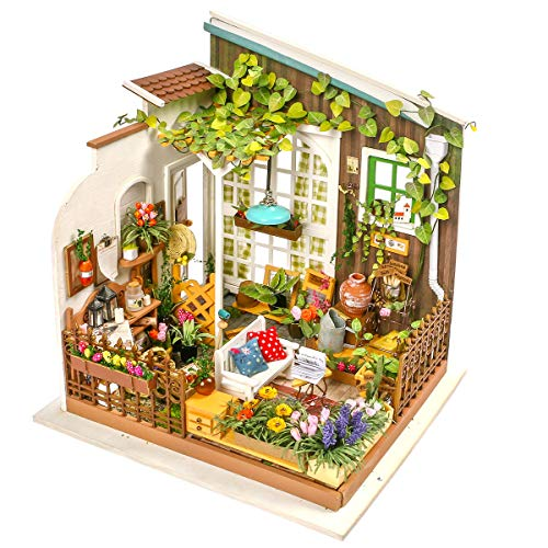 Rolife DIY Miniature Dollhouse Set-Model Building Kit to Build-Assembly Garden Fairy House-3D Wooden Puzzle Playset-Home Decor-Unique Birthday Mothers Day for Boys Girls Friends Mom Women (08 Garden)