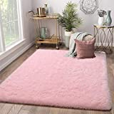 Terrug Soft Kids Room Rug, Pink Shag Area Rugs for Bedroom Living Room Carpet,Plush Fluffy Fur Rug for Nursery Girls Dorm Home Decor,4X6 Feet, Pink